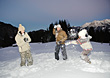 Family Snowball Fight stock photo
