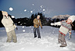 Family Snowball Fight stock image