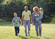Family Walking in Park stock image