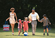 Active Family with Kids Outdoors stock photo