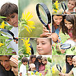 Family With Magnifying Glass Nature Spotting stock photo