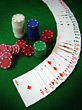 Fanned Deck Of Cards & Gambling Chips stock photo