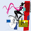 Fashion Girl By Bicycle Cubism Modern