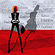 Fashionable Girl With A Bag On A Red Background stock illustration