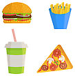 Fast Food Icons Set In Flat Style, Vector Design. Flat Illustration Of French Fies, Burger, Pizza And Soda Water