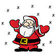 Fat Santa Claus Clip Art Drawing Over White