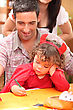 Devil Father And Little Girl At Halloween stock photography