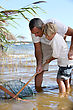 Outing Father And Son Fishing Together stock image