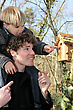 Father And Son Looking At A Birdbox