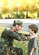 Troops Father and Son Talking stock image