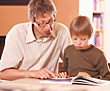 Father & Son Reading stock image