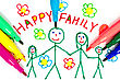 Felt Tip Pens And Color Drawing Of Happy Family