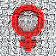 Female Gender Symbol Made From Matrix Of Red Cubes