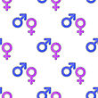 Female Male Symbols Seamless Pattern On White Background