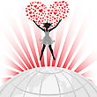 Female Silhouette And A Big Heart Over The Globe stock illustration
