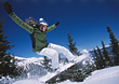 Female Snowboarder Jumping stock photo