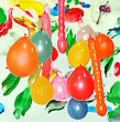 Festal Background With Multicolor Paint And Balloons stock photography