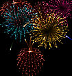 Festive Abstract Firework Bursting In Various Shapes Sparkling Set Black Background - Vector