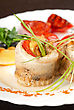 Fillet Of Pikeperch Stuffed With Trout Fish With Baked Pepper, Tomato And Leek stock image