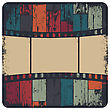 Film Strip In Grunge Frame On Colorful Seamless Wooden Background. Vector, EPS10