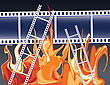 Films In Fire Flames. Abstract Illustration.