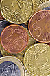 Earning Financial Abstract Background. Close-up Of Euro Coins stock photography