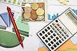 Financial Planning Using Color Charts And Calculator stock image