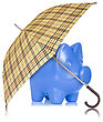 Financial Protection. Piggy Bank With Umbrella On White Background stock photo