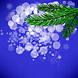 Fir Green Branch Isolated On Blue Background stock illustration