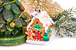 Fir Tree Candle, Toy House And Holly Berry Flower On White Background