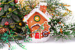 Fir Tree Candle And Toy House On White Background