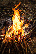 Fire Flames With Reflection On Black Background stock photo