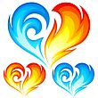 Fire and Ice vector heart. Symbol of love. stock illustration