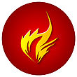 Fire Icon On Dark Red Background. Vector Illustration