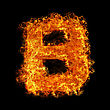 Fire Letter B On A Black Background stock image