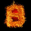 Fiery Fire Letter B On A Black Background stock image