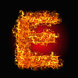 Fire Letter E On A Black Background stock photography