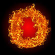 Fire Letter O On A Black Background stock photography