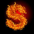 Blazing Fire Letter S On A Black Background stock photo