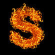 Fire Letter S On A Black Background stock image