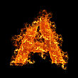 Fire Letter A On A Black Background stock image