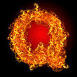 Fire Letter Q On A Black Background stock image