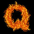 Fire Letter Q On A Black Background stock photo