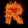 Fire Letter R On A Black Background stock photography