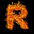 Fire Letter R On A Black Background stock image