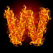 Typescript Fire Letter W On A Black Background stock photo