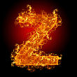 Fire Letter Z On A Black Background stock photo