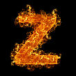 Fire Letter Z On A Black Background stock image