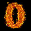Fire Number 0 On A Black Background stock photo