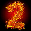 Numerical Fire Number 2 On A Black Background stock photo